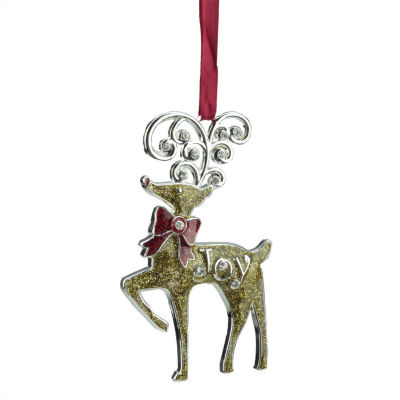 "3.75"" Regal Shiny Silver-Plated Gold Glitter ""Joy""Reindeer Ornament with European Crystals"""
