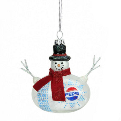 "3.75"" Snow Filled Glass Country Snowman Pepsi Christmas Ornament"