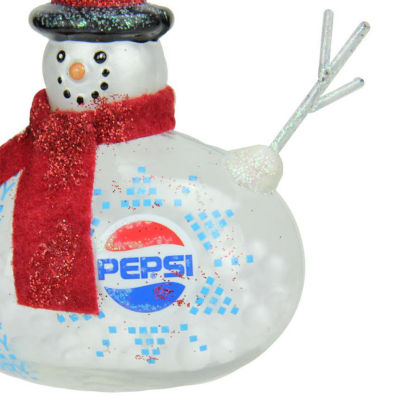 "3.75"" Snow Filled Glass Country Snowman Pepsi Christmas Ornament"""