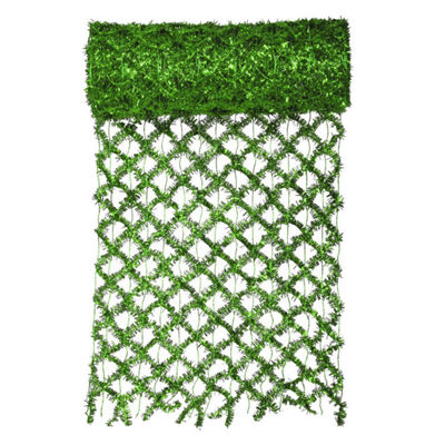 "30' x 12"" Commercial Length Extra Wide Wired MeshGreen Tinsel Garland Ribbon"""