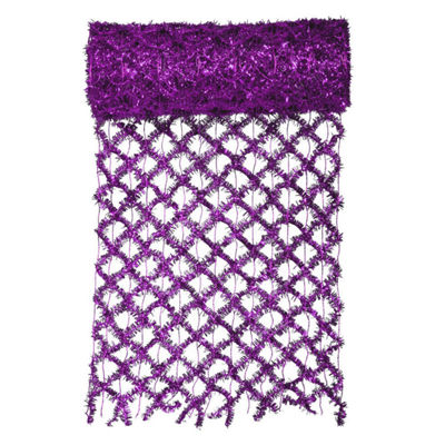 "30' x 12"" Commercial Length Extra Wide Wired Mesh Purple Tinsel Garland Ribbon"""