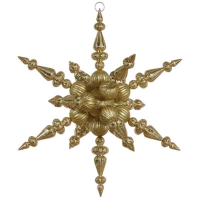 """30"""" Gold Commercial Shatterproof Radical 3-D Snowflake Christmas Ornament"""""""