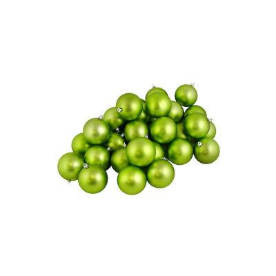 "32ct Matte Green Kiwi Shatterproof Christmas Ball Ornaments 3.25"" (80mm)"""