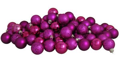 "32ct Pink Magenta Shatterproof 4-Finish Christmas Ball Ornaments 3.25"" (80mm)"