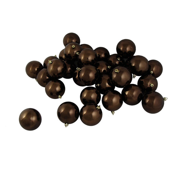 "32ct Shiny Chocolate Brown Shatterproof ChristmasBall Ornaments 3.25"" (80mm)"""