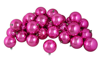 "32ct Shiny Magenta Pink Shatterproof Christmas Ball Ornaments 3.25"" (80mm)"