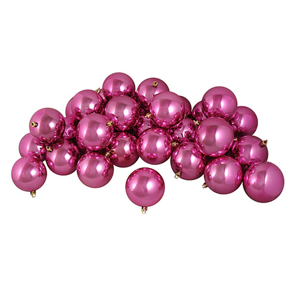 "32ct Shiny Pretty in Pink Shatterproof Christmas Ball Ornaments 3.25"" (80mm)"""