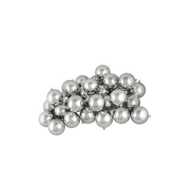 "32ct Shiny Silver Splendor Shatterproof Christmas Ball Ornaments 3.25"" (80mm)"