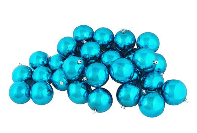 "32ct Shiny Turquoise Blue Shatterproof Christmas Ball Ornaments 3.25"" (80mm)"""