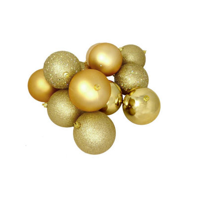 "32ct Vegas Gold 4-Finish Shatterproof Christmas Ball Ornaments 3.25"" (80mm)"""
