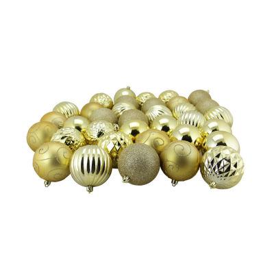 "35ct Gold 3-Finish Shatterproof Ball Christmas Ornaments 3"" (80mm)"""