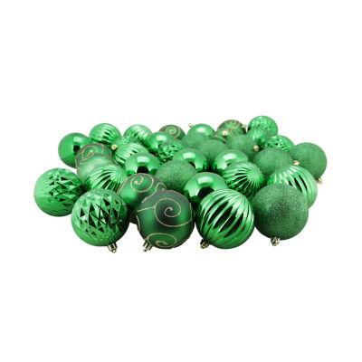 "35ct Green 3-Finish Shatterproof Ball Christmas Ornaments 3"" (80mm)"