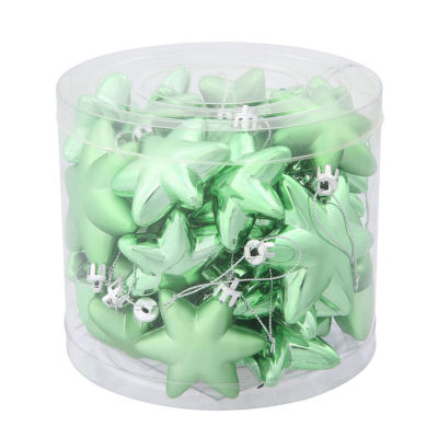 "36ct Matte & Shiny Celadon Green Star ShatterproofChristmas Ornaments 1.5""-2"""