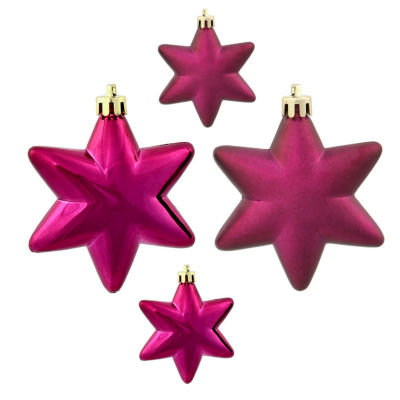 "36ct Matte & Shiny Eggplant Purple Star Shatterproof Christmas Ornaments 1.5""-2"""