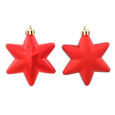 "36ct Matte & Shiny Red Hot Star Shatterproof Christmas Ornaments 1.5""-2"""