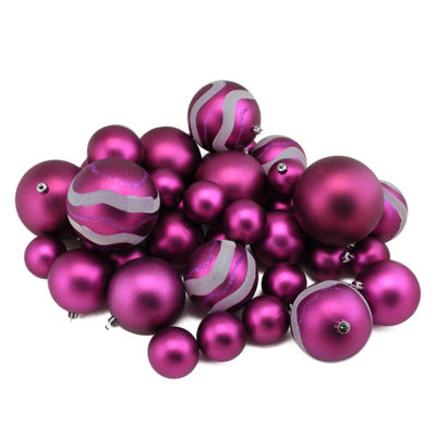 "39ct Light Magenta Pink Matte and Glitter Shatterproof Christmas Ball Ornaments 2""-4"""