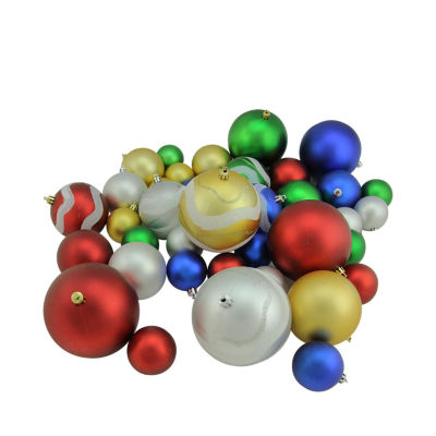 """39ct Multi-Color Matte and Glitter Shatterproof Christmas Ball Ornaments 2""""-4"""""""