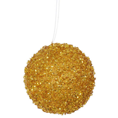 """3ct Antique Gold Sequin and Glitter Drenched Christmas Ball Ornaments 4.75"""" (120mm)"""""""