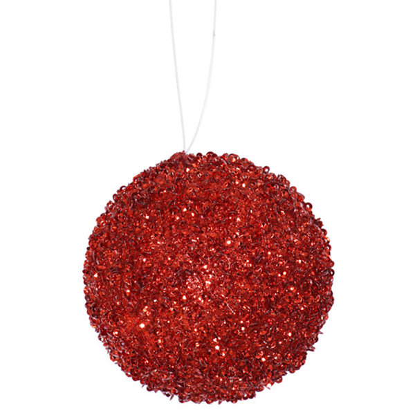 "3ct Berry Red Sequin and Glitter Drenched Christmas Ball Ornaments 4.75"" (120mm)"""