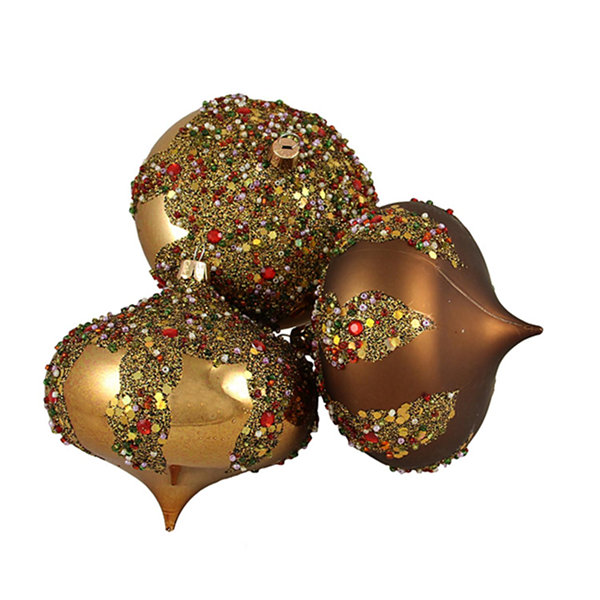 "3ct Brown Glitter Sequin Beaded Shatterproof Christmas Onion Ornaments 4"" 100mm"""