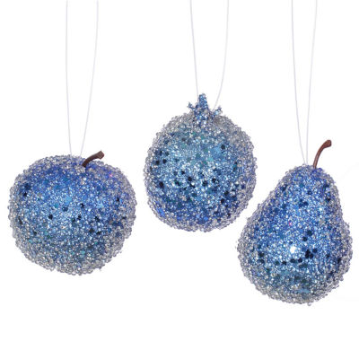 3ct Cobalt Blue Beaded  Sequin and Glitter Pear  Apple and Pomegranate Fruit Christmas Ornaments