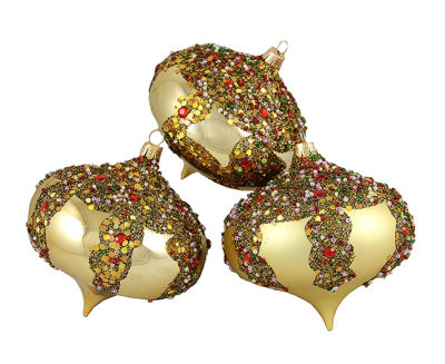 "3ct Gold Glitter Sequin Beaded Shatterproof Christmas Onion Ornaments 4"" (100mm)"""