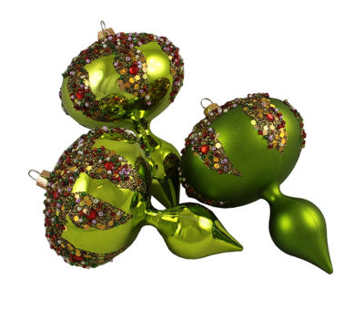 3ct Lime Green Glitter Sequin Beaded Shatterproof Christmas Finial Ornaments 5""