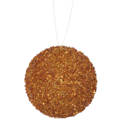 "3ct Orange Sequin and Glitter Drenched Christmas Ball Ornaments 4.75"" (120mm)"""