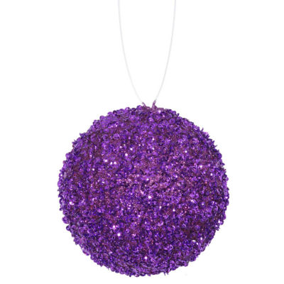 """3ct Purple Majesty Sequin and Glitter Drenched Christmas Ball Ornaments 4.75"""" (120mm)"""""""
