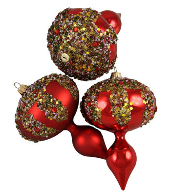 3ct Red Glitter Sequin Beaded Shatterproof Christmas Finial Ornaments 5""