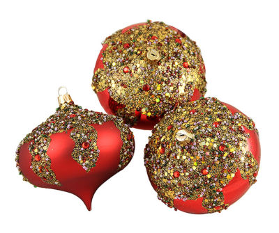 "3ct Red Glitter Sequin Beaded Shatterproof Christmas Onion Ornaments 4"" (100mm)"""