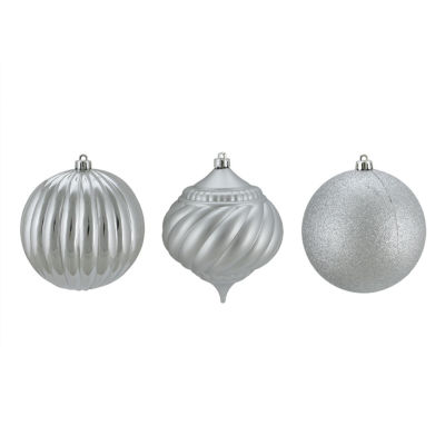 "3ct Silver 3-Finish Shatterproof Onion and Ball Christmas Ornaments 4.75"" (120mm)"""