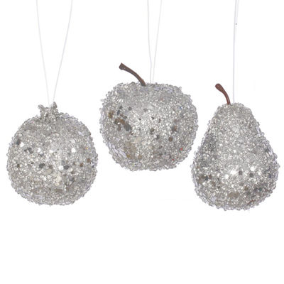 3ct Silver Beaded  Sequin and Glitter Pear  Appleand Pomegranate Fruit Christmas Ornaments