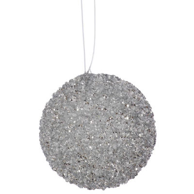 "3ct Silver Sleigh Ride Sequin and Glitter Drenched Christmas Ball Ornaments 4.75"" (120mm)"