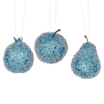 3ct Turquoise Blue Beaded Sequin and Glitter Pear Apple and Pomegranate Fruit Christmas Ornaments