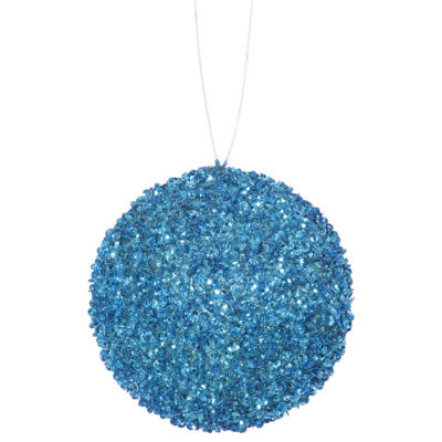 "3ct Turquoise Blue Sequin and Glitter Drenched Christmas Ball Ornaments 4.75"" (120mm)"""