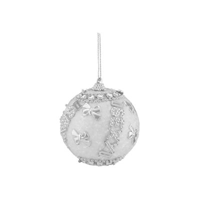 "3ct White and Silver ""Sexy"" Beaded and Glittered Shatterproof Christmas Ball Ornaments 3"" (75mm)"""