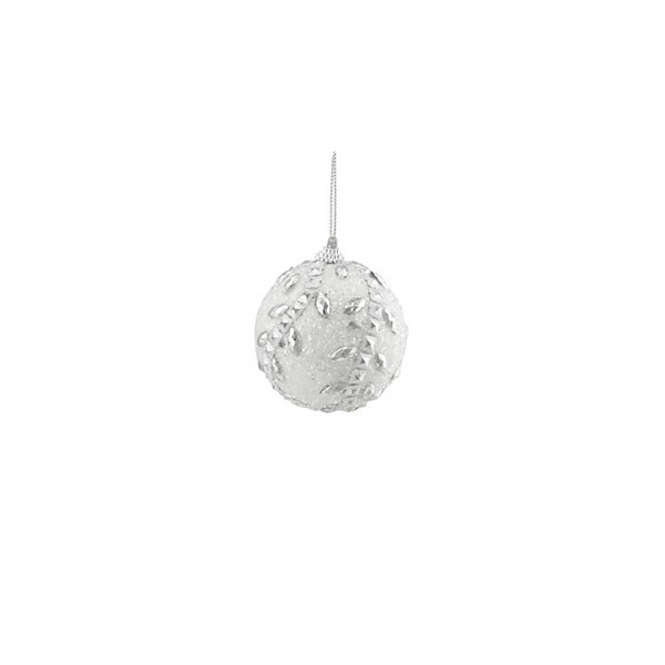 "3ct White and Silver Rhinestone and Beaded Shatterproof Christmas Ball Ornaments 3"" (75mm)"""