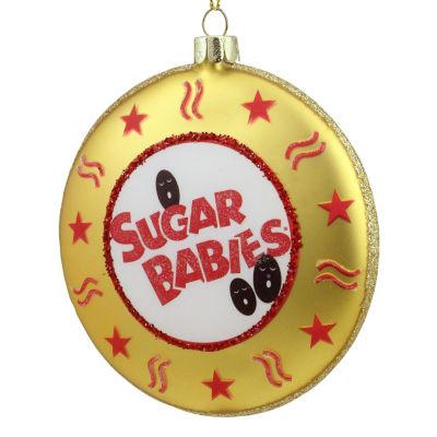 "4"" Candy Lane Tootsie Roll Gold Sugar Babies BiteSize Caramel Candies Christmas Disc Ornament"