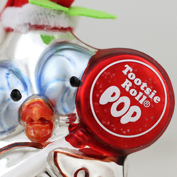 "4"" Candy Lane Tootsie Roll Pop Original Candy-Filled Lollipop ""Mr. Owl"" Glass Christmas Ornament"""