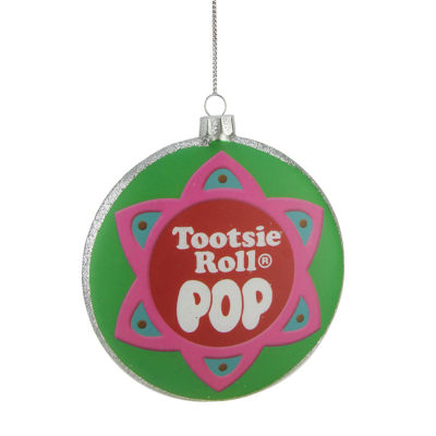 "4"" Candy Lane Tootsie Roll Pop Original Candy-Filled Lollipop Christmas Disc Ornament"""