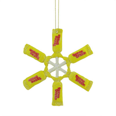 "4"" Candy Lane Tootsie Roll Sugar Daddy Lollipop Snowflake Christmas Ornament"