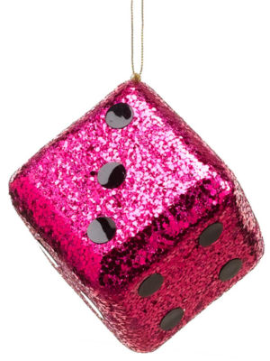 "4"" Casino Royale Shiny Fuchsia Pink Glitter Gambling Dice Christmas Ornament"