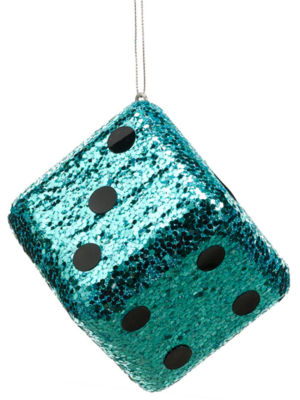 "4"" Casino Royale Shiny Turquoise Blue Glitter Gambling Dice Christmas Ornament"""
