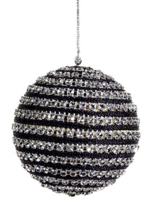 "4"" Contemporary Striped Black and Silver Sequined Christmas Ball Ornament"