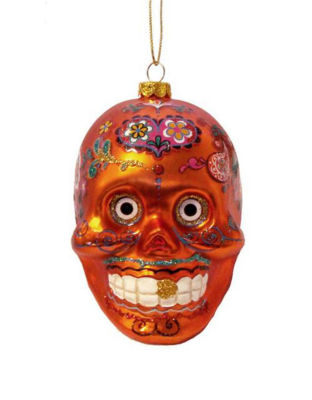 "4"" Day of the Dead Orange Glitter Embellished Skull Halloween Christmas Ornament"""