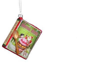 "4"" Glass Glittered ""Christmas Recipes"" DecorativeBook Ornament"""