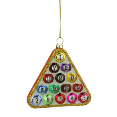 "4"" Glass Pool Ball in Triangle Billiard Rack Christmas Ornament"