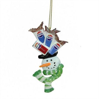"4"" Glittered Snowman Head Balancing Pepsi Christmas Ornament"""