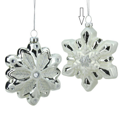 "4"" Glittered White and Silver Snowflake Glass Christmas Ornament"""